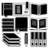 Book icons. Collection of book icons in white background Stock Image
