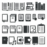 Book icons, e-book, reading on different devices Stock Photos