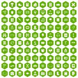 100 book icons hexagon green. 100 book icons set in green hexagon isolated vector illustration Royalty Free Stock Photos