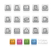 Book Icons -- Outline Buttons Stock Photos
