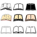 Book icons set. Open book icons vector set royalty free illustration