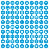 100 book icons set blue. 100 book icons set in blue hexagon isolated vector illustration Royalty Free Stock Images