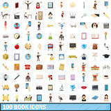 100 book icons set, cartoon style Stock Image
