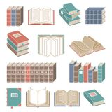 Book icons set color Stock Photos