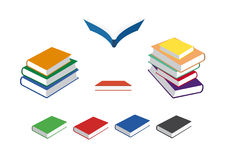 Book icons set. Colored books on a white background. Vector illustration with a pile of books. Stacked multi color books Stock Photo