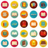 Book icons set, flat style. Book icons set. Flat illustration of 25 book vector icons circle isolated on white Royalty Free Stock Photo