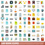 100 book icons set, flat style Stock Photo