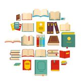 Book icons set, flat style. Book icons set. Flat illustration of 25 book vector icons isolated on white background Stock Image