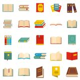 Book icons set, flat style. Book icons set. Flat illustration of 25 book vector icons isolated on white background Royalty Free Stock Images