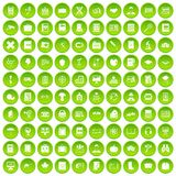 100 book icons set green circle. Isolated on white background vector illustration Royalty Free Stock Photo