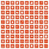 100 book icons set grunge orange. 100 book icons set in grunge style orange color on white background vector illustration vector illustration