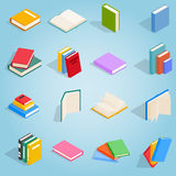 Book icons set, isometric 3d style Royalty Free Stock Photo