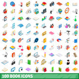 100 book icons set, isometric 3d style Royalty Free Stock Images