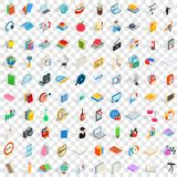 100 book icons set, isometric 3d style Royalty Free Stock Photography
