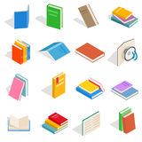 Book icons set, isometric 3d style Stock Photos