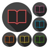 Book icons set with long shadow Stock Photos