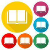 Book Icons set with long shadow. Vector icon Stock Photo