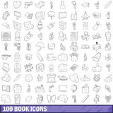 100 book icons set, outline style Royalty Free Stock Photography