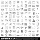100 book icons set, outline style. 100 book icons set in outline style for any design vector illustration Royalty Free Illustration