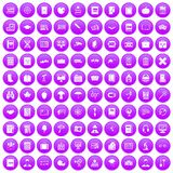 100 book icons set purple. 100 book icons set in purple circle isolated on white vector illustration Stock Images