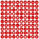 100 book icons set red. 100 book icons set in red circle isolated on white vector illustration Royalty Free Stock Photos