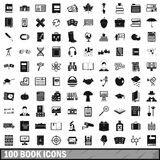 100 book icons set, simple style Stock Photos