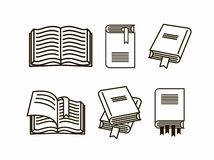 Book illustration set. Collection of line sketch icon book stock illustration