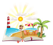 A book with an image of a beach Stock Images