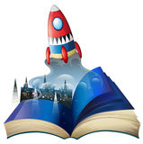 A book with an image of celltowers and a spaceship vector illustration