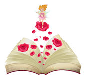 A book with an image of a fairy above a big rose Stock Image