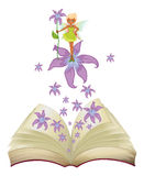A book with an image of a fairy and flowers Royalty Free Stock Photo