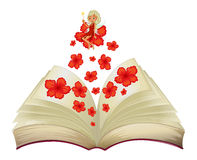 A book with an image of a flower and a fairy Stock Photography