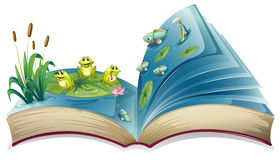 A book with an image of the frogs and fishes in the pond Stock Images