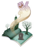 A book with an image of a graveyard Royalty Free Stock Photography