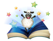 A book with an image of a happy sheep with stars Royalty Free Stock Photo