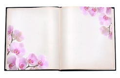 Book with image of orchid Royalty Free Stock Image