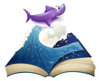 A book with an image of a wave and a shark vector illustration