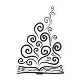 Book, imagination, knowledge. Vector hand drawn illustration stock illustration
