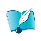 Book and ink feather icon vector illustration