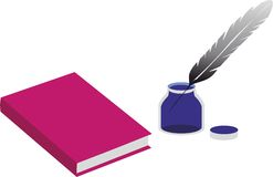 Book and an inkpot with a pen Royalty Free Stock Photography