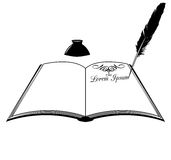 Book inkwell and feather Stock Photo