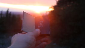 Book with the inscription lets go wild. Sunset. Travel, vacation, trip idea. Book with the inscription lets go wild. Forest on background stock video footage