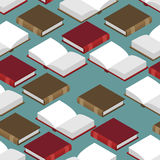 Book Isometric seamless pattern. Red and green cover. read volum. E Royalty Free Stock Photo