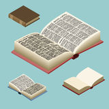 Book isometric set. Open volume . Ancient text. old edit Royalty Free Stock Photography