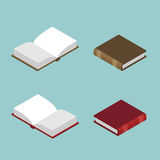 Book isometric set. Open volume . Ancient text. old edit Royalty Free Stock Image