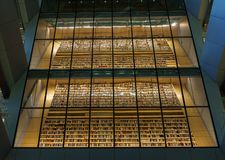 Book istallation in Interior space of Latvian National Library also known as Castle of Light, Riga, Latvia, July 25, 2018 royalty free stock images