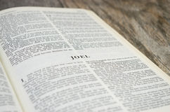 Book of Joel Bible Page. Title page for the book of Joel in the Bible Royalty Free Stock Image