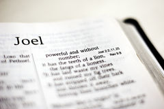Book of Joel. One of the 66 books in the Bible stock images
