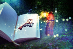 Key to the secret door. Fairyland.  Arched fairy door in a mossy tree trunk under the mysterial light Royalty Free Stock Photography