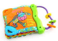 Book for kids. Made of cloth, bright colors royalty free stock images